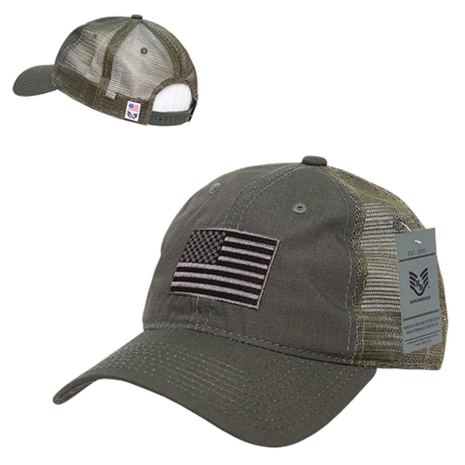 Details about Olive Green USA United States Flag America Ripstop Mesh  Trucker Baseball Hat Cap 3a02292389f
