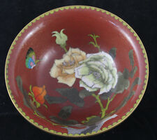 Vintage Chinese Brass Enamel Cloisonne Bowl with Floral & Butterfly