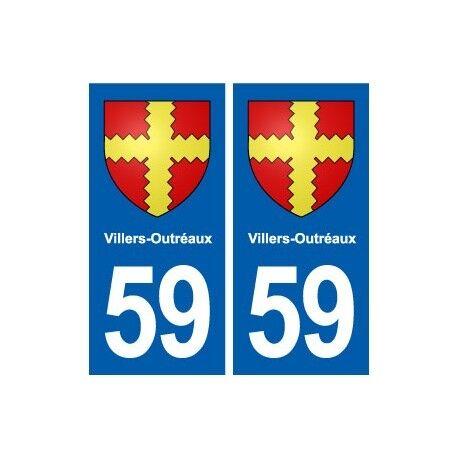 59 Villers-Outréaux blason autocollant plaque stickers ville -  Angles : droits
