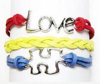 Autism Awareness Bracelet Love Puzzle Piece 7-9 Inch Adjustable Leather Suede