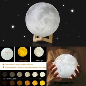 3D LED Luna Night Light Moon Lamp USB Charging Touch Control White/Warm Lights