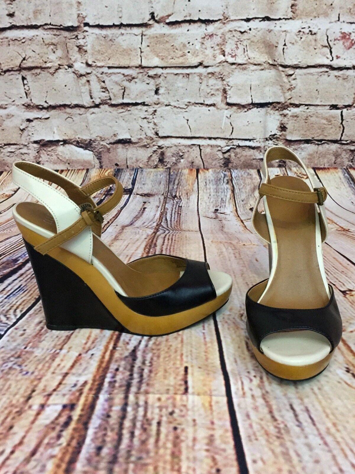 Elle Womens Shoes Wedge Platform Ankle Strap Size Color Block Tan Black Size Strap 7 598a4a