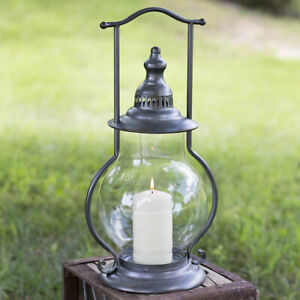 Farmhouse-Country-GUNMETAL-STEEPLE-LANTERN-Candle-Holder-Rustic-Primitive