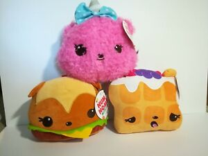 New-Num-Noms-Hammy-Burger-Pinky-Puffs-Willy-Waffles-Lot-of-3-Plush-Stuffed-Toys