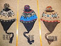 Mens American Eagle Knit/fleece Trapper Hat Wool
