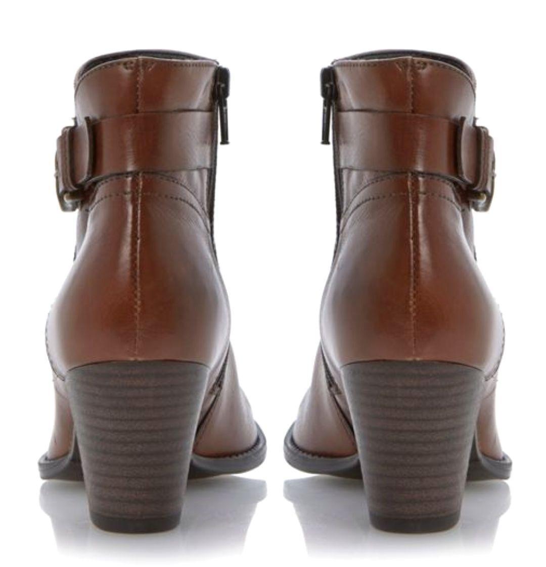 Linea Braun UK 7 Nordal Tan Braun Linea Leder Side Buckle Zip Up Ankle Stiefel c3bc71