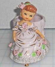 Vintage PINK DAINTY MISS GIRL Victorian Rose LADY PLANTER Figurine LEFTON