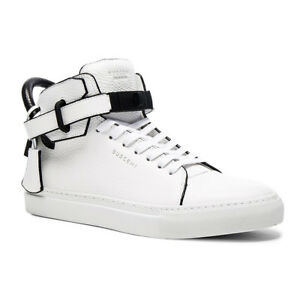 new style 7dd1e c4098 Image is loading Buscemi-100MM-High-Top-Men-White-With-Black-