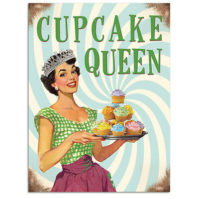 Cupcake Queen, Kitchen Baking, Retro Funny 50s Pin-up Girl Novelty Fridge Magnet