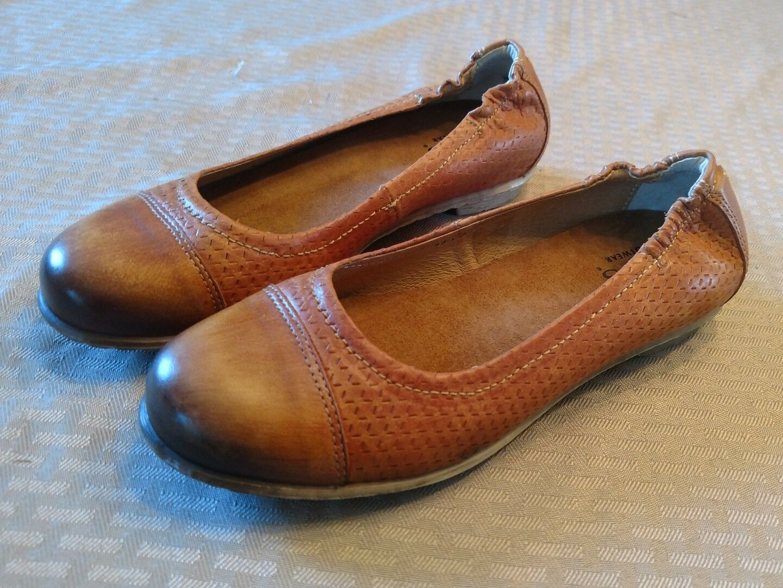Womens Womens Taos Cleo Ballet Flats Cognac Brown Leather Womens Womens Size 6-6.5 Eur 37 7de5e4