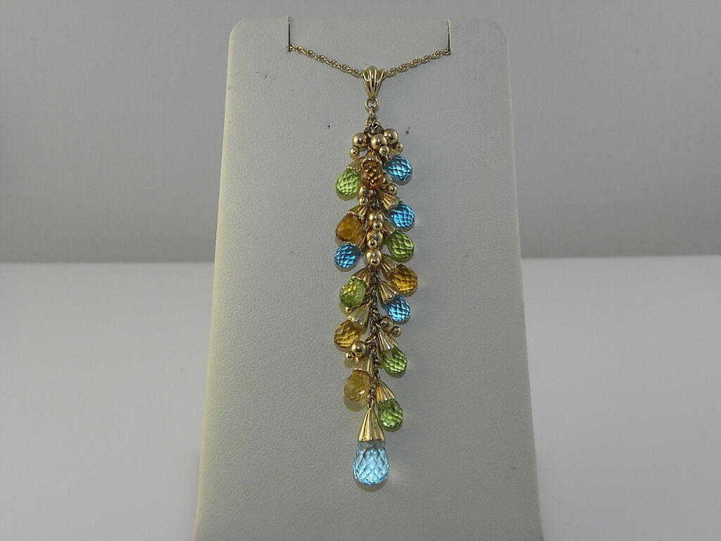 LADIES ESTATE DANGLE PENDANT WITH MULTI colorD GEM STONES AND CHAIN