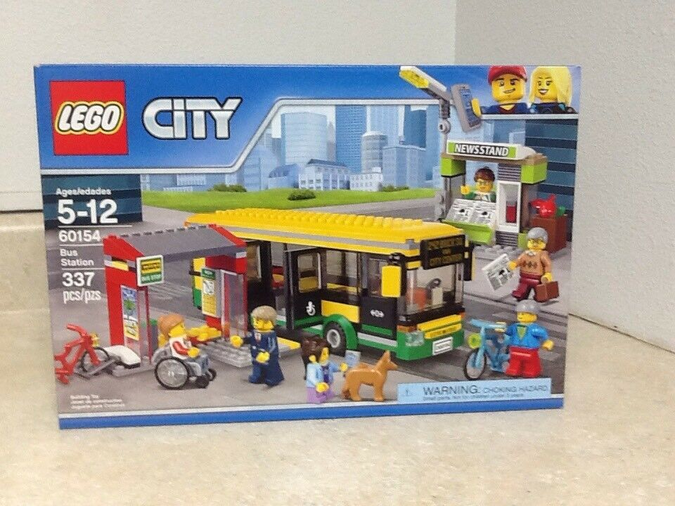 Lego City 60154 Bus Station With 6 Minifigs, 1 Dog, 2 Bicycles, 1 Wheelchair