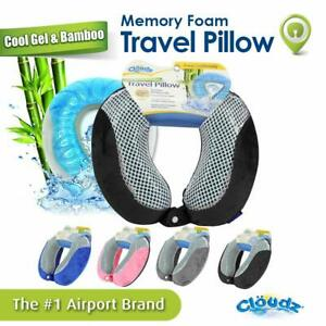 Cloudz Memory Foam Cool Gel Amp Bamboo Travel Neck Pillow