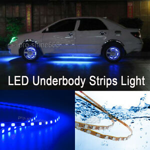 Details About 4pcs 10000k Blue Led Strip Under Car Underglow Underbody Neon Light Kit For Bmw