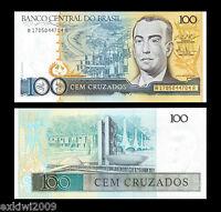 Brazil 100 Cruzados 1987 P-211c Mint UNC Uncirculated Banknotes