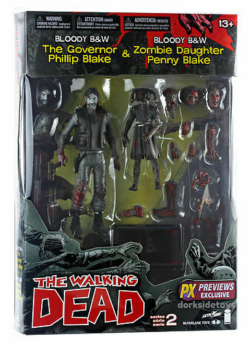 THE WALKING DEAD BLOODY B&W GOVERNOR & PENNY ACTION FIGURES - SERIES 2