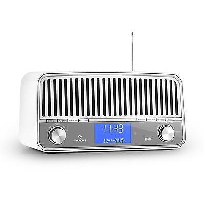 DAB+ UKW RETRO RADIO BLUETOOTH 2.1 AUX RDS SUBWOOFER WECKER LAUTSPRECHER SOUND