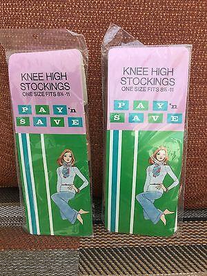Realistico 2 Paia Vintage Pay 'n' Save Tan Calze Al Ginocchio, Taglia Unica, Made In Usa-mostra Il Titolo Originale