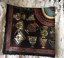 100/% Silk Square Scarf 50cm x 50cm Black Color Cup Design