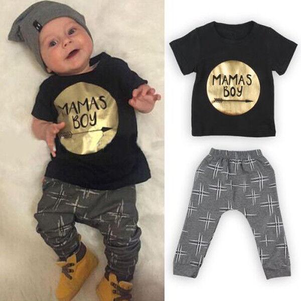Cute Mama's BOY Infant Baby Boys Kids Clothes T-shirt Tops+Long Pants Outfit Set