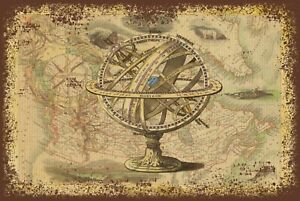travel holiday Vintage Style Map and Globe Retro Metal sign plaque