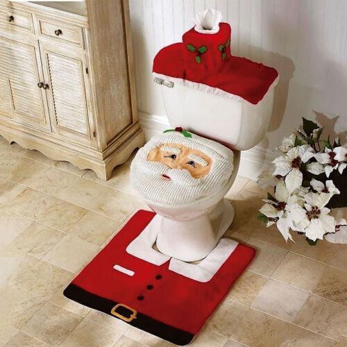 3PC CHRISTMAS FESTIVE SANTA TOILET SEAT COVER SET BATHROOM SET XMAS DECORATION