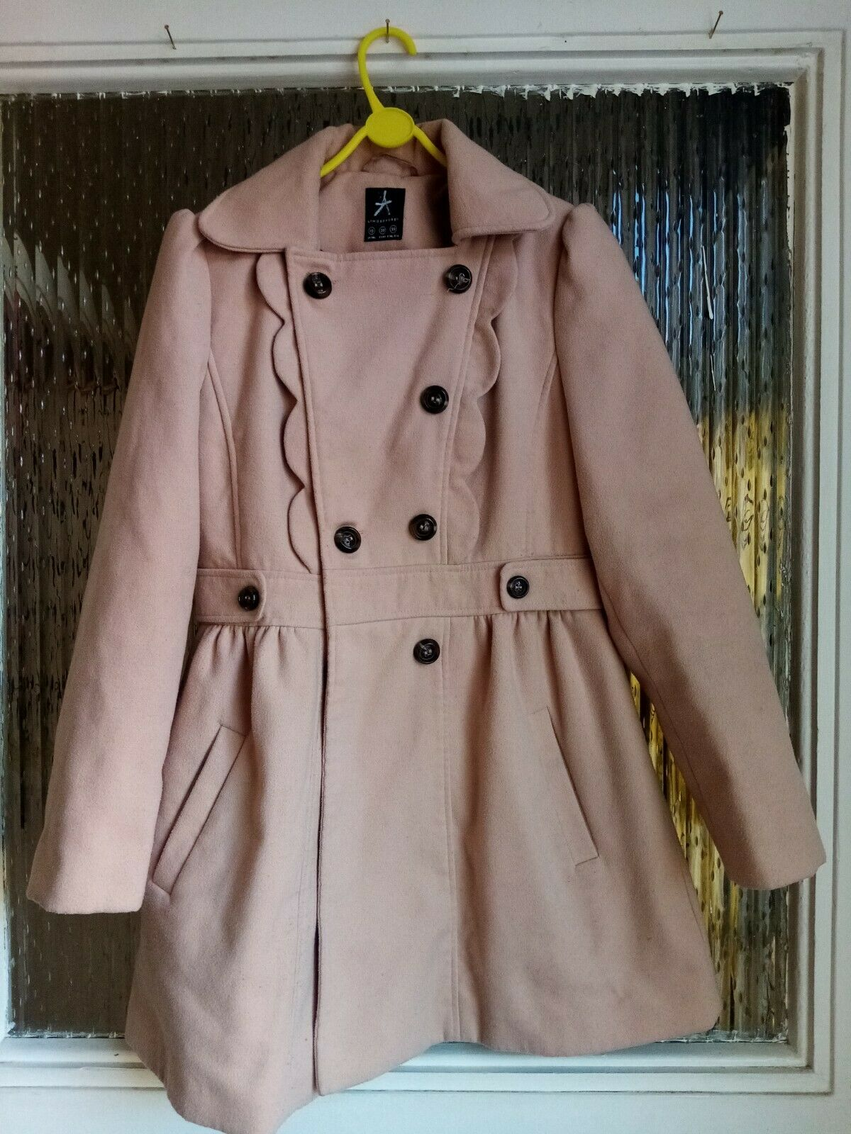 Preowened Womens Ladies Brown Double Breasted long Sleeves jacket coat size 10