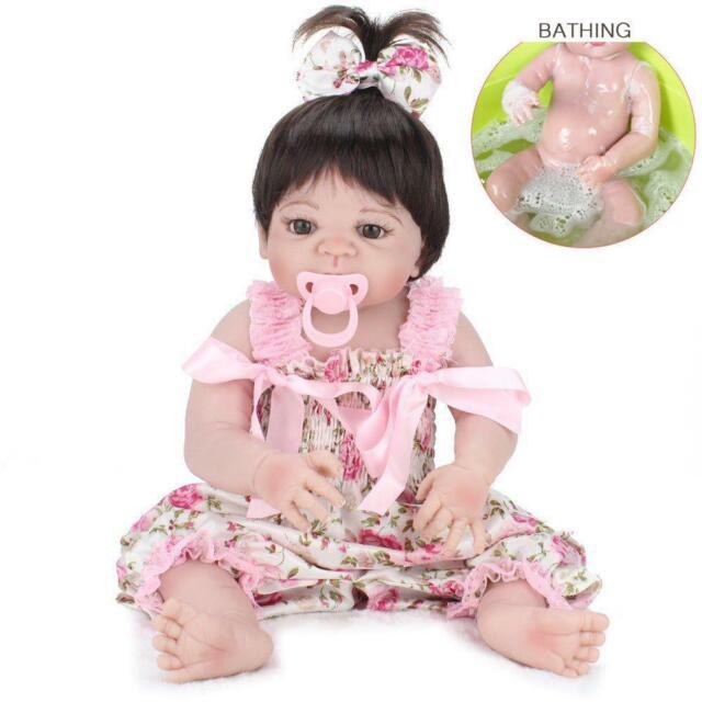 "NPK Realistic Girl 22/"" Reborn Baby Dolls Full Body Vinyl Silicone Newborn Toys"