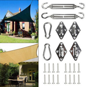 8pcs Stainless Steel Sun Sail Shade Canopy Fixing Fittings Hardware Accessory CP