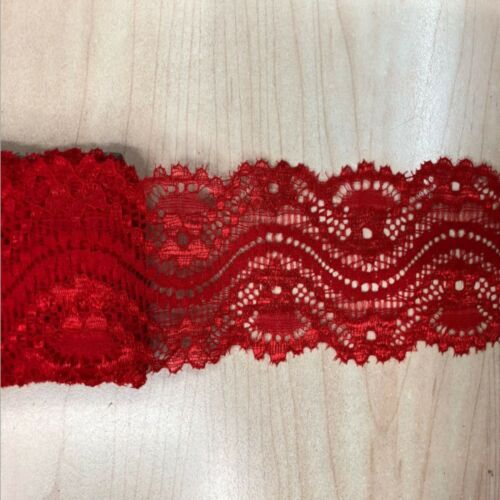3 Inch Lace Ribbon Lace Fabric Decorating Elastic Stretch Sewing Lace Trim 10 Yards Beige