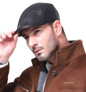 nero-vero-Pelle-di-pecora-Berretto-piatto-Gatsby-newsboy-Driving-cap-berretto