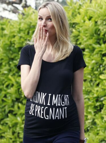 Basic Maternity Slogan Fitted Tee I Think I might Be Pregnant