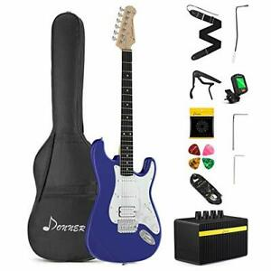 Donner DST-102L Solid Body 39 Inch Full Size Electric Guitar Kit Sapphire Blu...