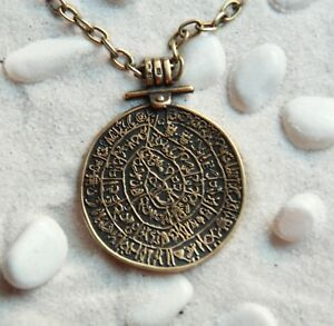Disc of Phaistos Minoan Ancient Greek handmade Brown Clay pendant necklace