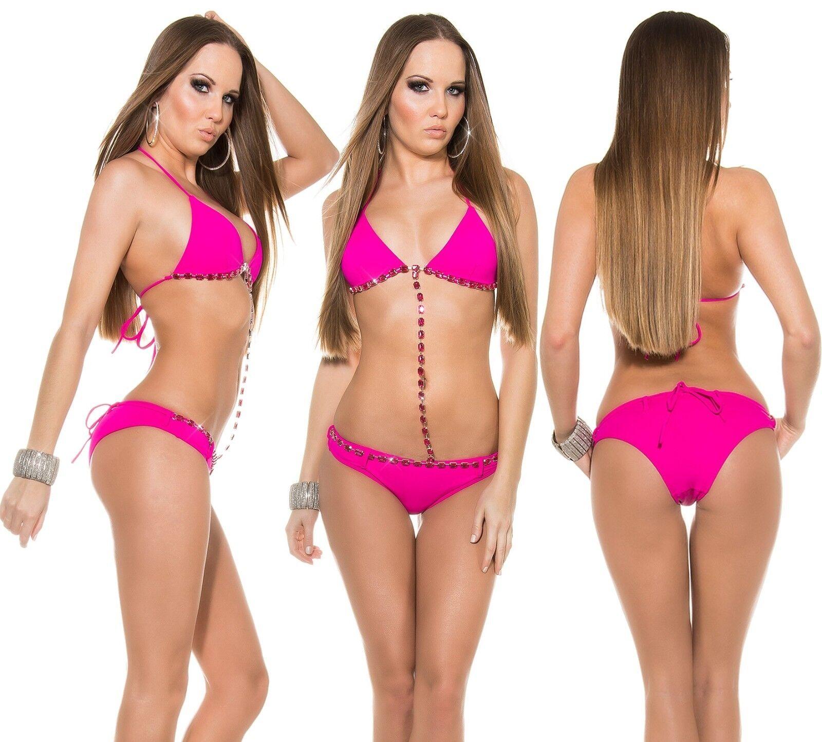 Push Up Monokini Bikini Strass Kette Badeanzug Brazil Body Tankini GoGo Beach Fm