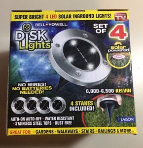 38b301523eb7 Bell + Howell Solar Powered LED Disk Outdoor Pathway Lights 4 Pack ...