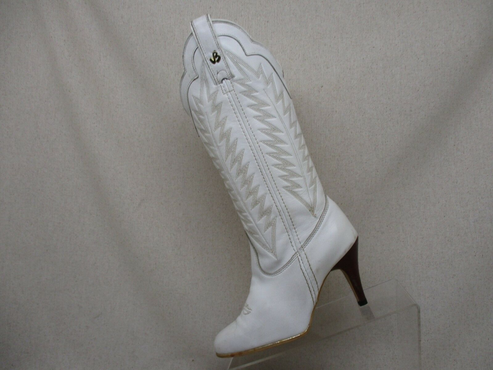 JEENZ BOOTZ White Leather Cowboy Western Fashion Boots Womens Size 5.5 M - 507