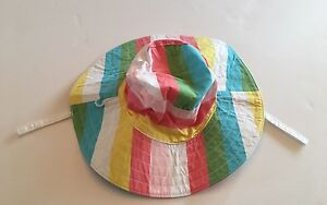 8944d411f75 NWT Gymboree Happy Rainbow 0-12 Months Stripe Sun Hat with Chin ...