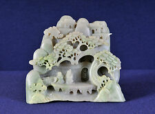 Chinese Natural Jade Hand Carving, Two figure under a tree