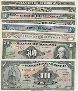 Mexico: Set of 8 Collection Bank Notes, American Bank Notes Company UNC.