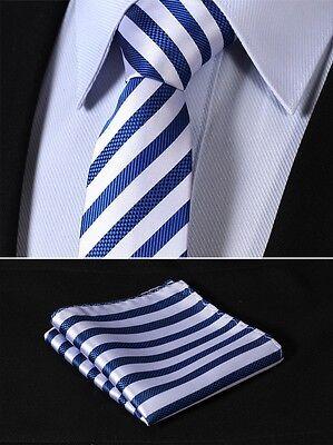 "TS2007B7 Blue Silver Stripe 2.75"" Silk Slim Narrow Men Handkerchief Necktie"