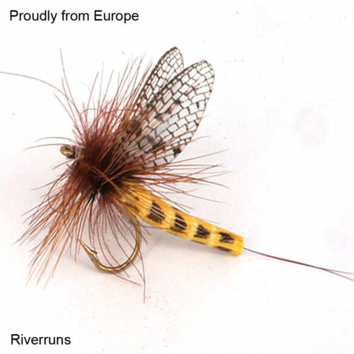Realistic Yellow Darke Flies Trout Super Sturdy Flies real insect From Europe