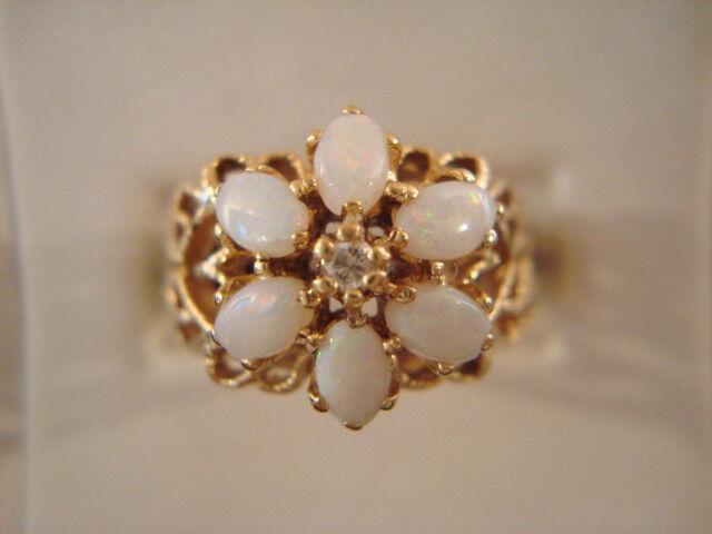 10K yg Opal and Diamond Ornate Cluster Ring - 5.0 Grams - Sz. 7.75  ( W8RQ)