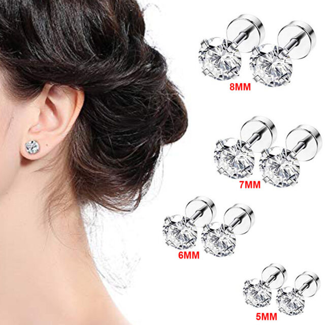 ab30ac23a Frequently bought together. 8x Men's Women's White Cubic Zirconia Stud  Earrings Stainless Steel Screw Back