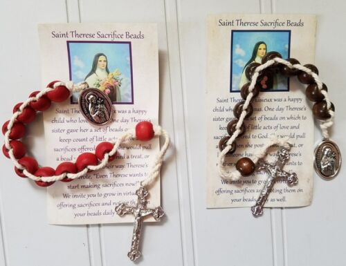 Therese Sacrifice Beads ~ Choose Brown or Red Rose Scented ~ with Card St