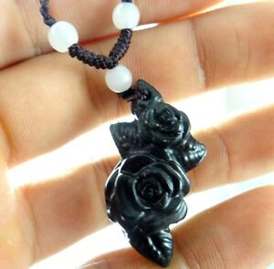 Beautiful Chinese natural jade hand-carved the statue of rose PENDANT AA02