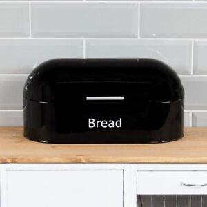 Retro-Bread-Bin-Black-Steel-Kitchen-Top-Storage-Loaf-Box-New-By-Home-Discount