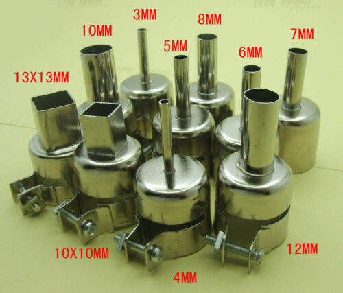 10pc3//4//5//6//7//8//10//12 10X10 13X13 Heat nozzle for 850 Hot Air Soldering station