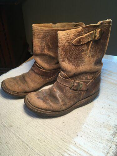 WOW! 1930's Vintage Boy's Leather Boots W/ Brass B