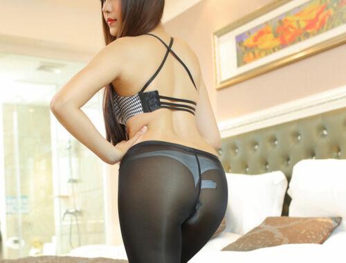 Women/'s See Through Trousers Pants Zip Open Crotch Sheer Skinny Fitness Leggings